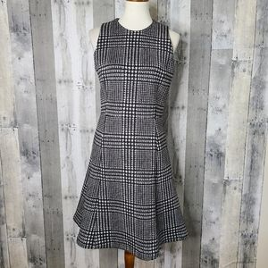 J. McLaughlin Houndstooth Scuba Fit & Flare Dress